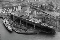 RMS Queen Mary under construction at the shipyard of John Brown and Company Ltd Clydebank Scotland early s x-post from rglasgow and rscotland