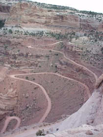 Road descending a cliff face in Canyonlands National Park Utah