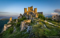 Rocca Calascio a fortress damaged by an earthquake in Abruzzo Italy  by Hans Kruse