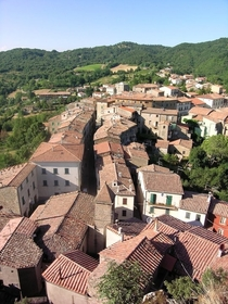 Roccatederighi - A small medieval village on a mountaintop in Tuscany Italy