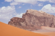 Rock and dune at Wadi Rum Jordan