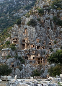 Rock-cut tombs in Myra an ancient town in Lycia Turkey