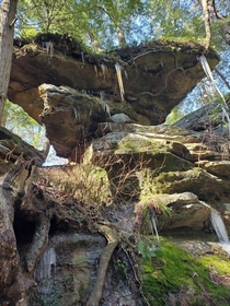 Rock formations with drippy icicles near Old Mans Cave Hocking Hills OH