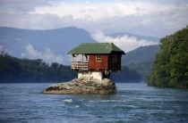 Rock house on the river Drina near Bajina Basta Serbia