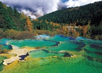 rock pools at Huanglong Natural Preserve Jiuzhaigou National Park in Chinas Sichuan province