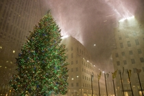Rockafeller Center during a blizzard