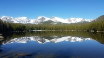 Rockies reflected over Bierstadt Lake Rocky Mountain NP
