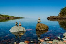 Rocks balanced at Sugarloaf Cove on the North Shore of Lake Superior Minnesota OC X