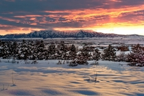 Rocky Mountain Valley Winter Sunset Cache Valley UT