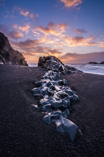 Rocky Outcropping on Black Sand Beach South of Vik Iceland