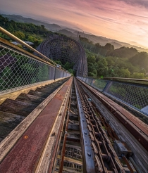 Roller coaster at the abandoned Dreamland amusement park in Japan