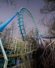 Roller coaster left behind at the abandoned Six Flags in New Orleans