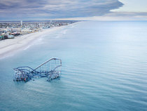 Roller Coaster Submerged in Atlantic Ocean Casino Pier Seaside Heights New Jersey
