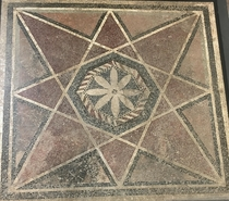 Roman floor mosaic from the ordinary triclinium in the Villa of Publius Fannius Synistor a space for everyday family meals not elite banqueting - BCE An -pointed star encloses an -petaled flower The window offered a direct view of Vesuvius Boscoreale Anti