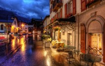 Romantic street on a rainy night in Zermatt Switzerland