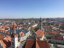 Rooftops in Munich looking from the tower at Church of St Peter