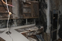 Room absolutely covered in black mold found at an old abandoned hospice