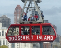Roosevelt Island Tramway - New York City over the East River during a drill