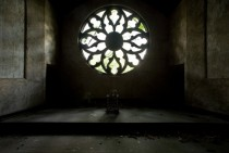 Rose window of Catholic chapel on Hart Island New York Citys Potters Field where over  bodies lie in mass graves