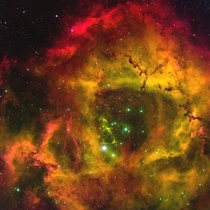 Rosette Nebula  ly away from Earth despite being that far away it still covers an area in the sky twice as big as the Moon