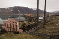 Rotting Soviet thermal power station in Piramida Svalbard Norway