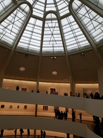 Rotunda of the Guggenheim Museum nearing the dome Frank Lloyd Wright I celebrated my birthday with Wright This photo was taken on his th and my th and I got to watch a Wright Impersonator describing his process for planning and constructing this spectacul