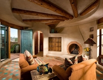 Round Fireplace Round Room - Southwest Pueblo Adobe  Urban Design Associates