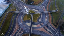 Roundabout and bicycle bridge in the Netherlands
