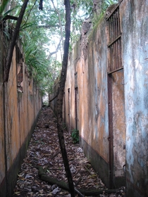 Row of cells Salvations Islands penal colony French Guiana taken in