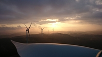 Row of wind turbines Sweden