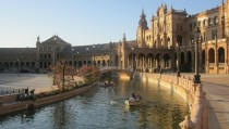 Rowboats on the moat at the Plaza de Espaa in Sevilla Spain