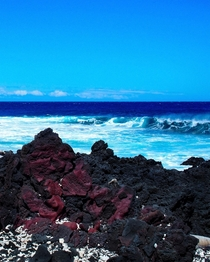 Ruby-colored lava rock Big Island Hawaii