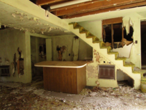 Ruined game room in an abandoned vacation home in East Tennessee Not shown is the fancy wine rack behind the counter