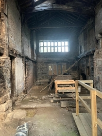 Ruined medieval hall awaiting restoration
