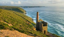 Ruins of a Cornish Engine House and Tin Mines in Cornwall England