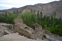 Ruins of an old Buddhist Monastery abandoned due to flash floods The new one was constructed high up on a nearby hill