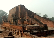 Ruins of th Century Nalanda Mahavihara University a large and revered Buddhist monastery destroyed by Muhammad Khalji in  CE Its said that its library burned for  months straight after its destruction
