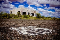 Ruins of the Painted Desert Trading Post on an abandoned alignment of Route  in Arizona