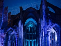 Ruins of Villers Abbey Belgium lit up for a music festival