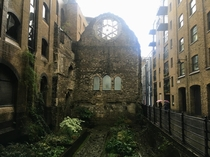 Ruins of Winchester Palace-- th century palace destroyed by fire nestled between other buildings in central London