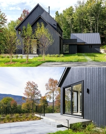 Rural hillside property clad in charred wood overlooking Green Mountains Fayston Vermont by Elizabeth Herrmann Architecture Photo Lindsay Selin