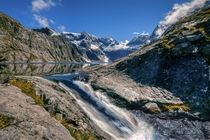 Rushing Waters of Lake Erskine Fiordland New Zealand