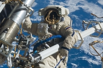 Russian cosmonaut Anton Shkaplerov Expedition  flight engineer participates in a session of extravehicular activity EVA