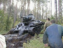 Russian tank commandeered by the Wehrmacht in World War II pulled out from the middle of an Estonian lake