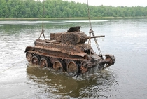 Russian WWII BT Tank Being Pulled From a Lake in St Petersburg Russia