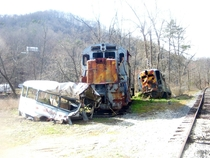 Rusted and Overgrown Train Wreck in Dillsboro NC