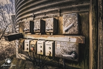 Rusted electronics at an abandoned farm in Scotland