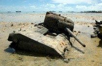 Rusty Sherman M Tank Resting in a Lagoon Tarawa Republic of Kiribati