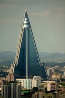 Ryugyong Hotel Hotel of Doom is -story pyramid-shaped skyscraper The construction began in  And has been halted over and over throughout the years The project has cost the N Koreans at least  of their GDP Pyongyang DPRK North Korea