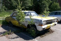 s Opel left on parking lot a long time ago Espoo Finland
